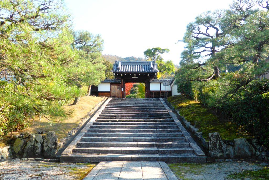 京都市左京区にある霊鑑寺の山門(秋・11月)
