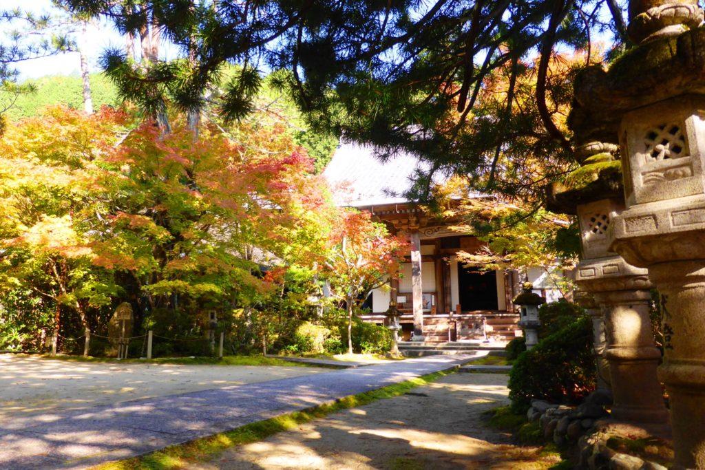 京都市右京区にある西明寺の境内の紅葉